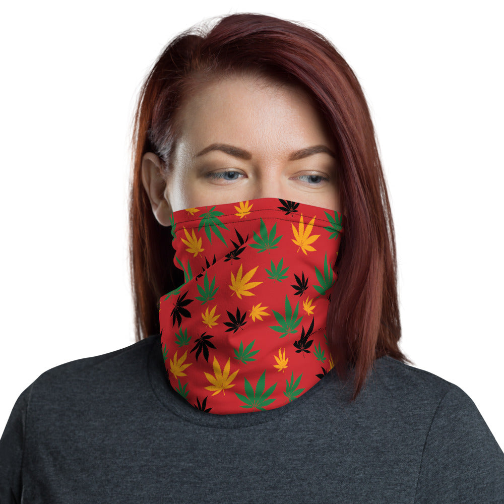 Flame Scarlet Rasta Marijuana Leaves Neck Gaiter - Magic Leaf Tees