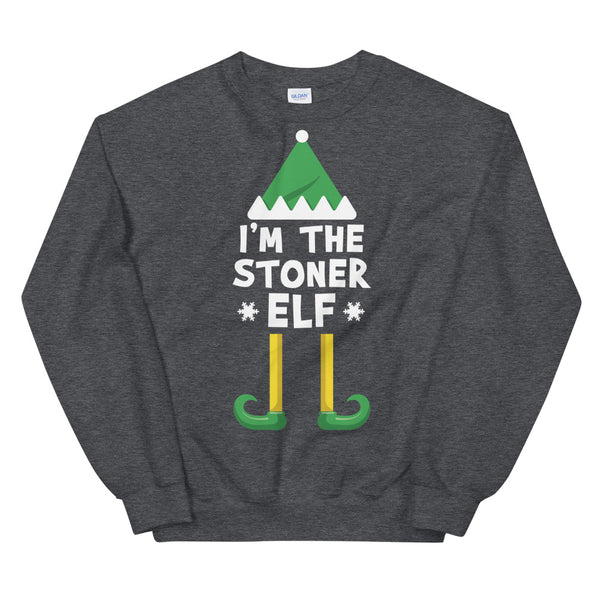 I'm The Stoner Elf Cannabis Christmas Sweatshirt - Magic Leaf Tees