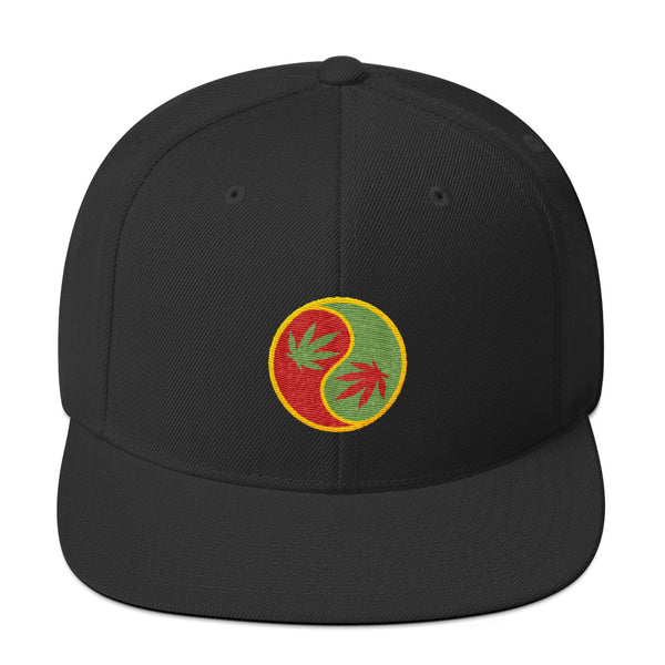 Marijuana Leaf Yin Yang Snapback Hat - Magic Leaf Tees