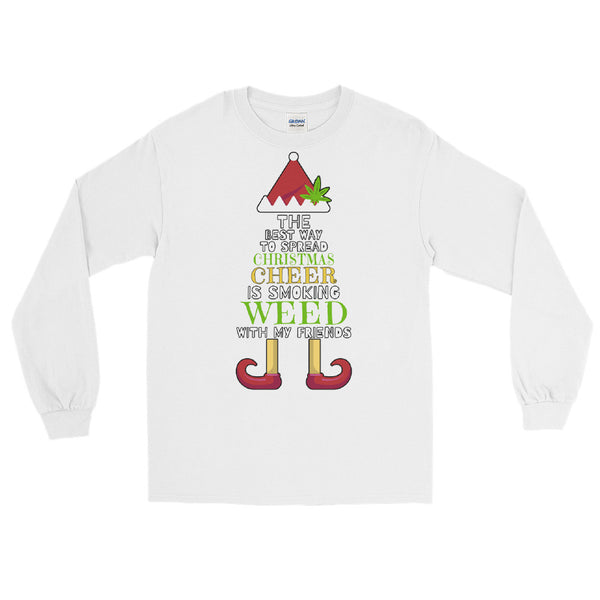 Christmas Cheer Weed Elf Long Sleeve T-Shirt - Magic Leaf Tees