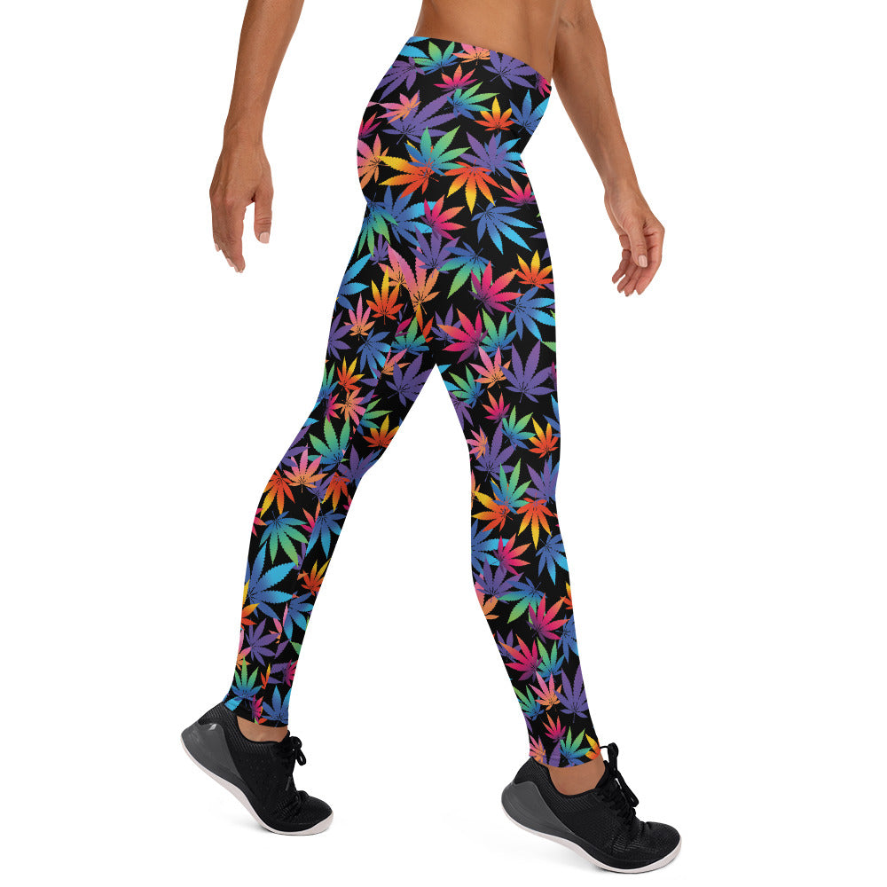 Midnight Black Multi Color Cannabis Leaves Leggings - Magic Leaf Tees