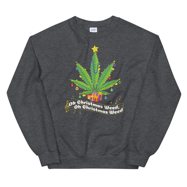 Oh Christmas Weed Funny Cannabis Sweatshirt - Magic Leaf Tees