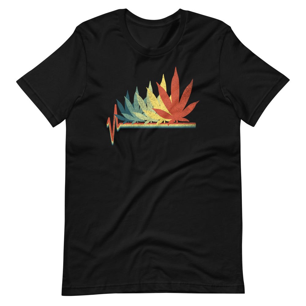 Retro Cannabis Leaf Heartbeat T-Shirt - Magic Leaf Tees