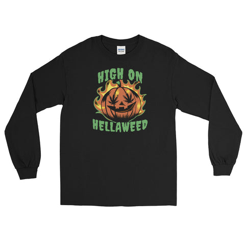 High On Hellaweed Funny Marijuana Long Sleeve T-Shirt - Magic Leaf Tees