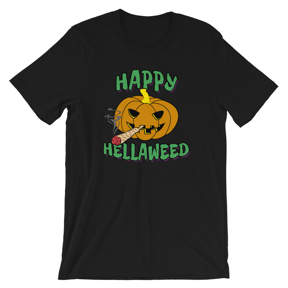 Happy Hellaweed Toking Pumpkin 420 Halloween T-Shirt - Magic Leaf Tees