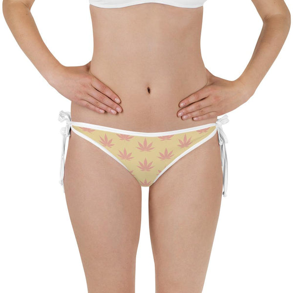 Coral Pink And Sunlight Cannabis Leaf Print Reversible Bikini Bottom - Magic Leaf Tees