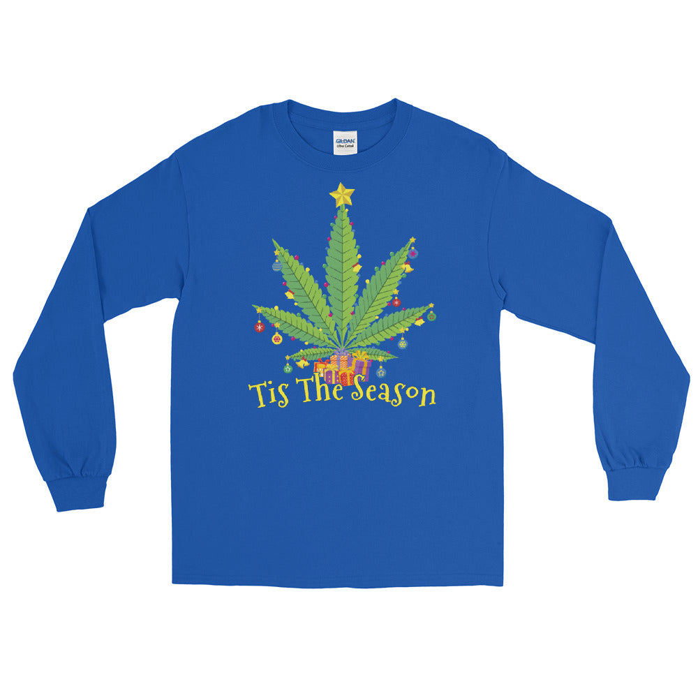 Tis The Season Weed Christmas Long Sleeve T-Shirt - Magic Leaf Tees