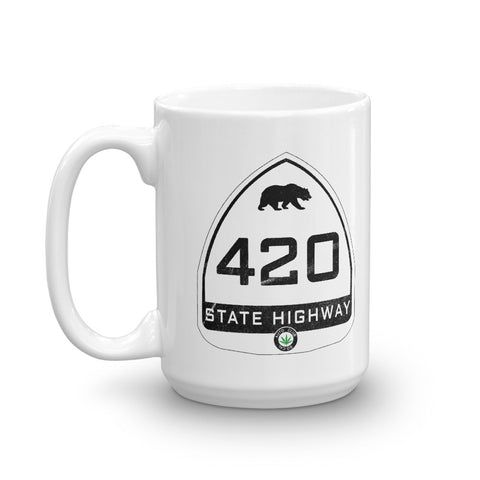 Vintage California State Highway Sign 420 Coffee Mug - Magic Leaf Tees
