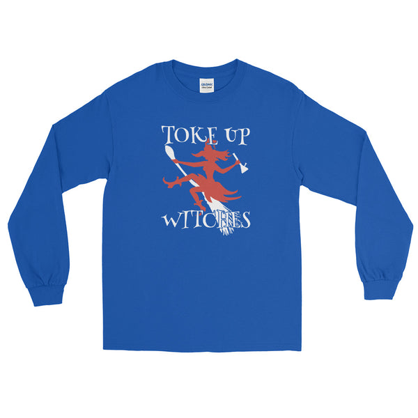 Toke Up Witches Halloween Weed Long Sleeve T-Shirt - Magic Leaf Tees