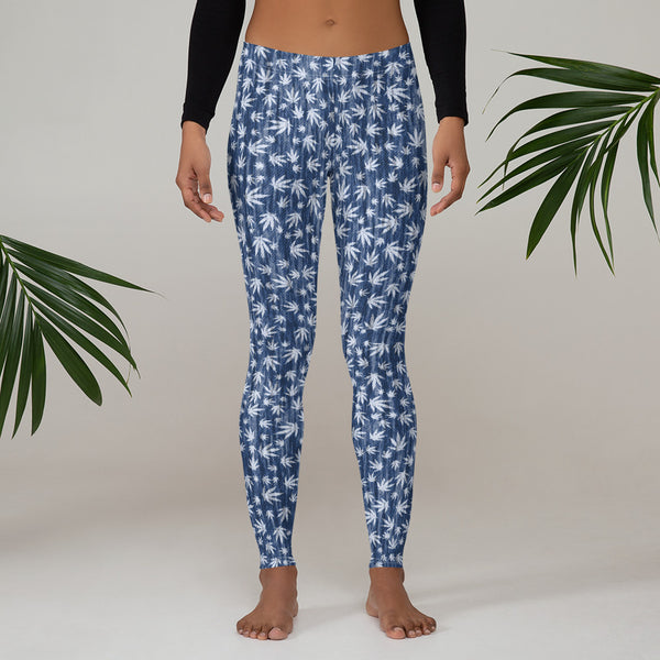 Faded Denim Print Cannabis Leaves Leggings - Magic Leaf Tees