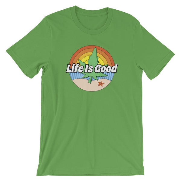 Life Is Good Beach Marijuana T-Shirt - Magic Leaf Tees