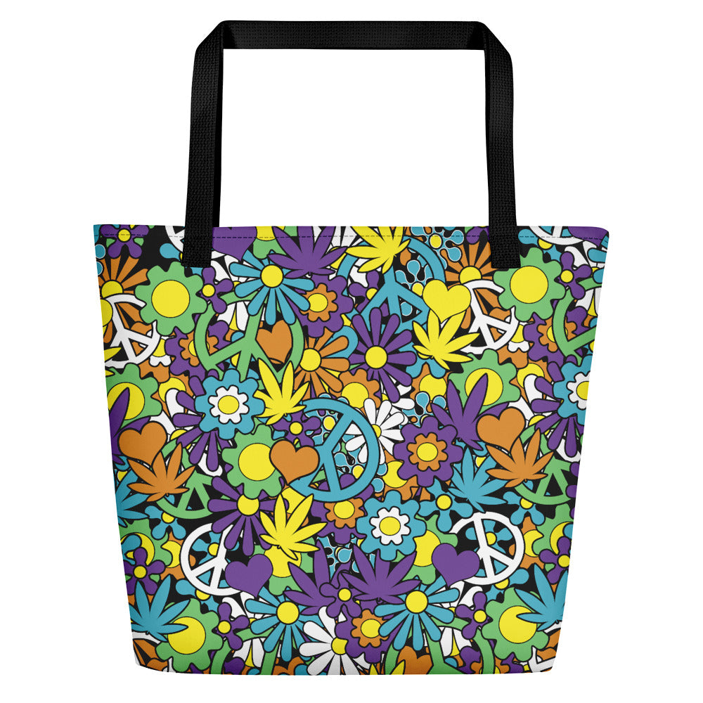Good Day Sunshine Hippie Cannabis Pop Art Large Beach Bag - Magic Leaf Tees