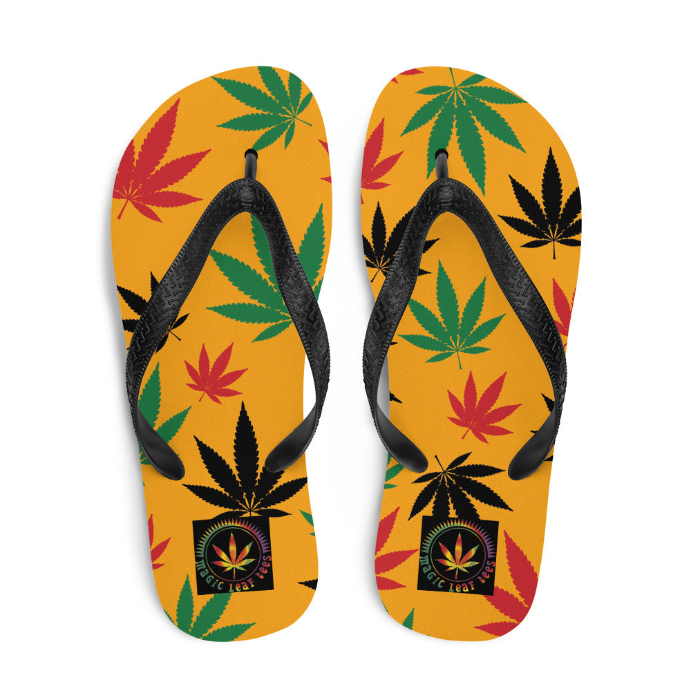 Saffron Yellow Rasta Cannabis Leaves Flip-Flops - Magic Leaf Tees