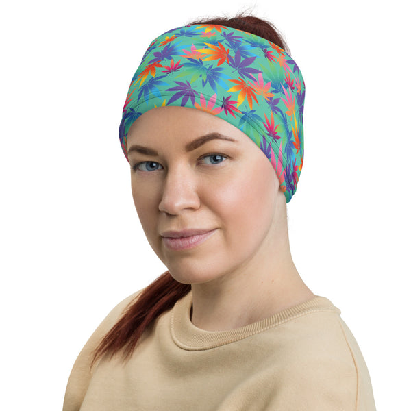 Biscay Green Cannabis Leaves Neck Gaiter - Magic Leaf Tees
