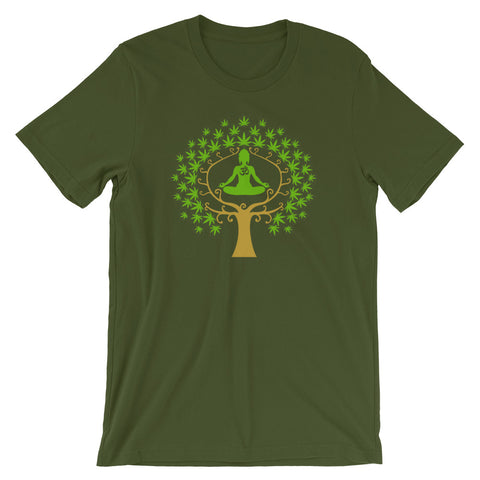 Aum Ajna Marijuana Tree Buddhist T-Shirt - Magic Leaf Tees