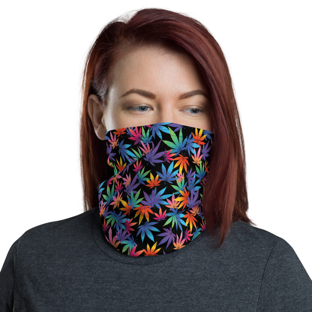 Midnight Black Cannabis Leaves Neck Gaiter - Magic Leaf Tees