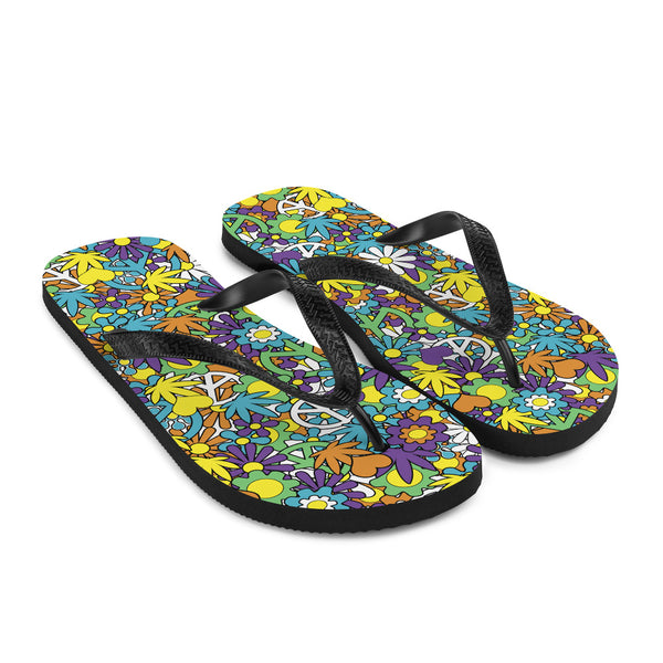 Good Day Sunshine Hippie Cannabis Pop Art Flip-Flops - Magic Leaf Tees
