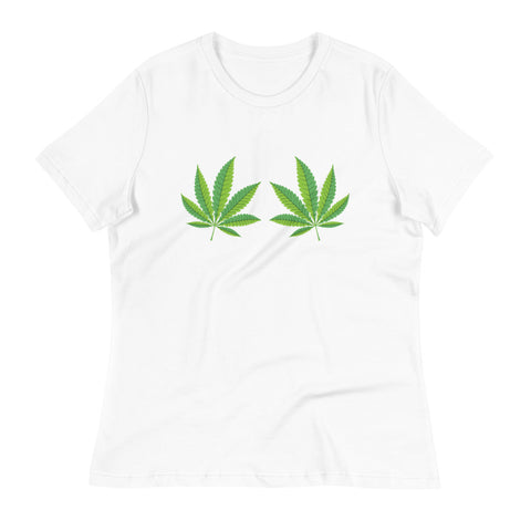 Weed Leaf Boobs Women's Relaxed T-Shirt - Magic Leaf Tees