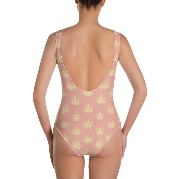 Coral Pink And Sunlight Cannabis Leaf Print One-Piece Swimsuit - Magic Leaf Tees