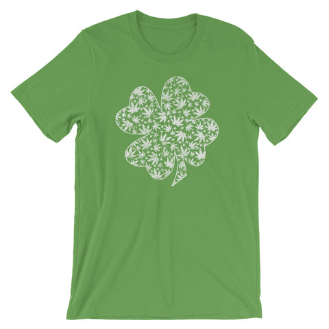 Lucky Shamrock Cannabis Leaf St Patrick's Day T-Shirt - Magic Leaf Tees