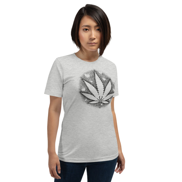 Stipple Shaded Pot Leaf With Hearts T-Shirt - Magic Leaf Tees