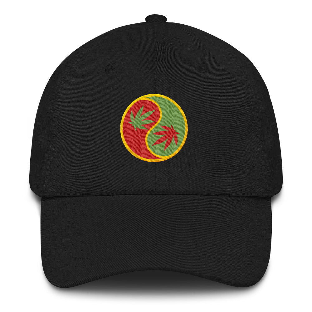 Marijuana Leaf Yin Yang Baseball Cap - Magic Leaf Tees