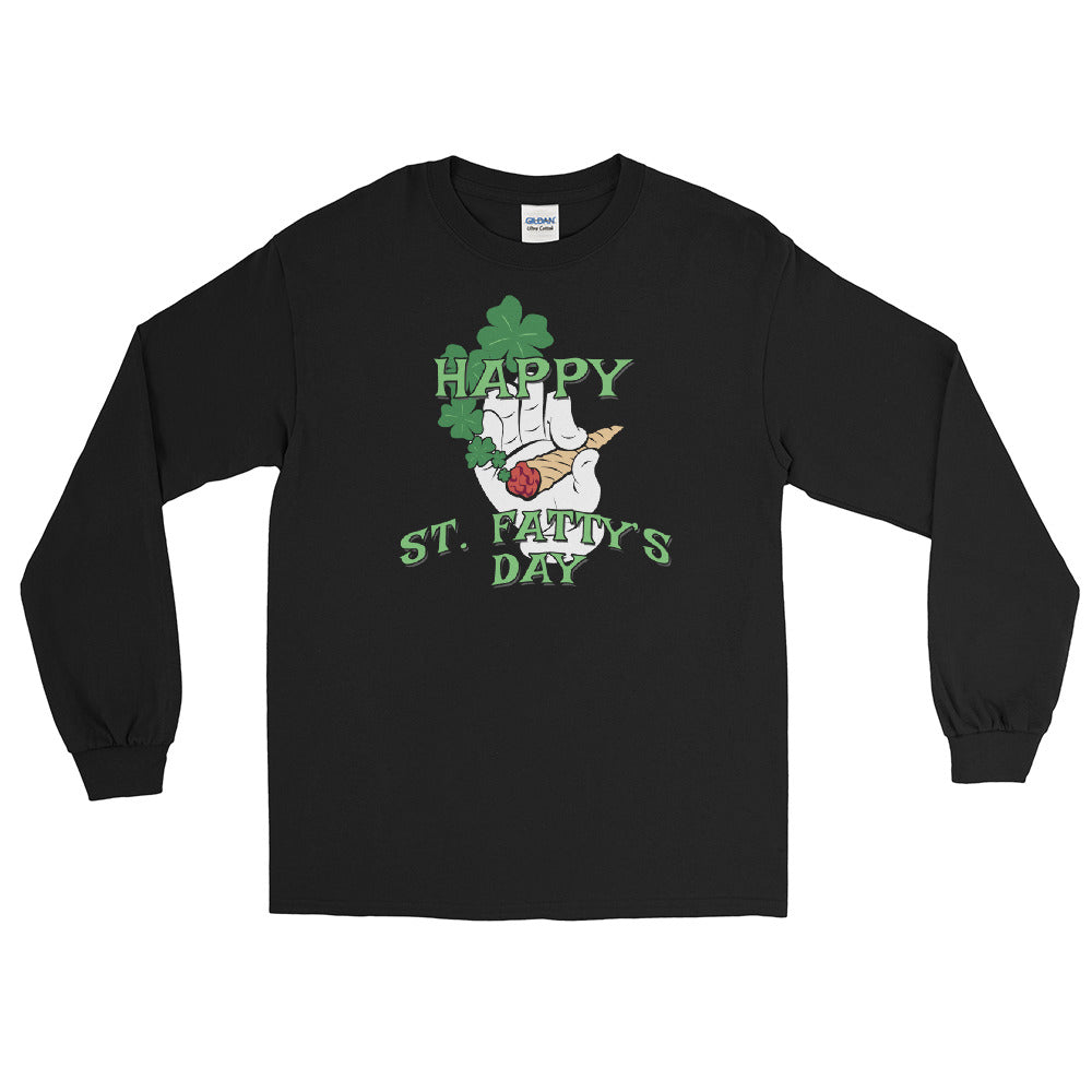 Happy St. Fatty's Day Funny St. Patrick's Day Long Sleeve T-Shirt - Magic Leaf Tees