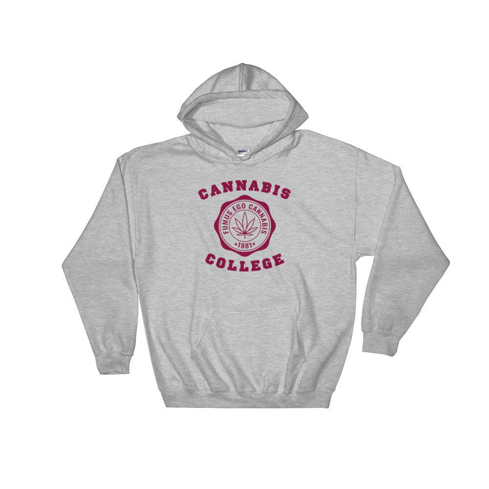 Hillman Cannabis College Weed Heather Grey Hoodie - Magic Leaf Tees