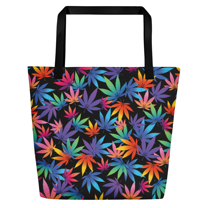 Midnight Black Cannabis Leaf Large Beach Bag - Magic Leaf Tees