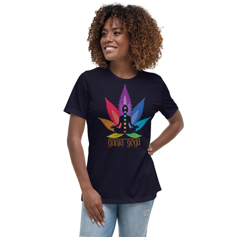 Seven Chakras Ganja Yoga Women's Relaxed T-Shirt - Magic Leaf Tees