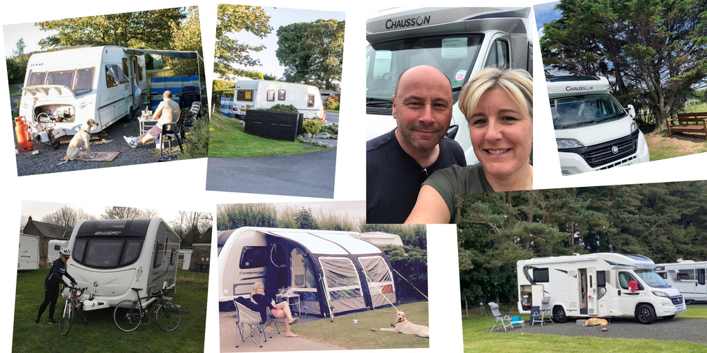 collage of images showing caravans and motorhomes