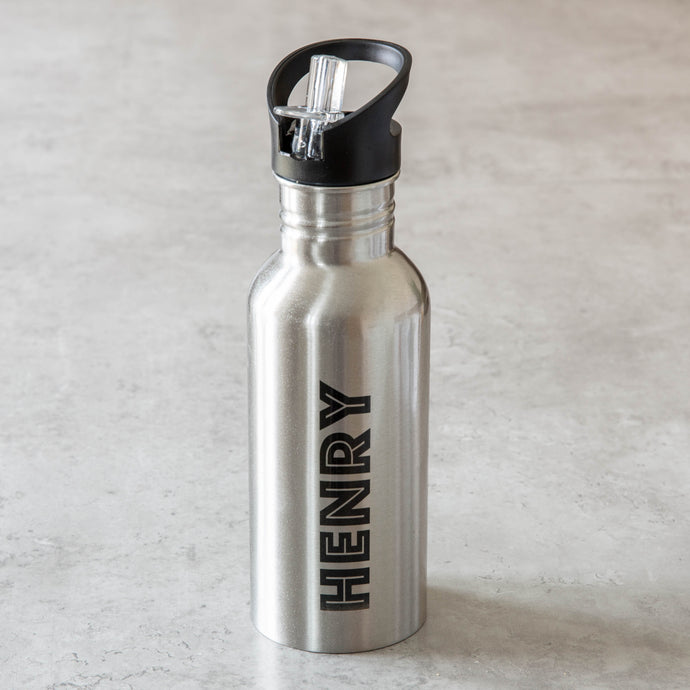 Waterbottle 600ml Personalised Silver