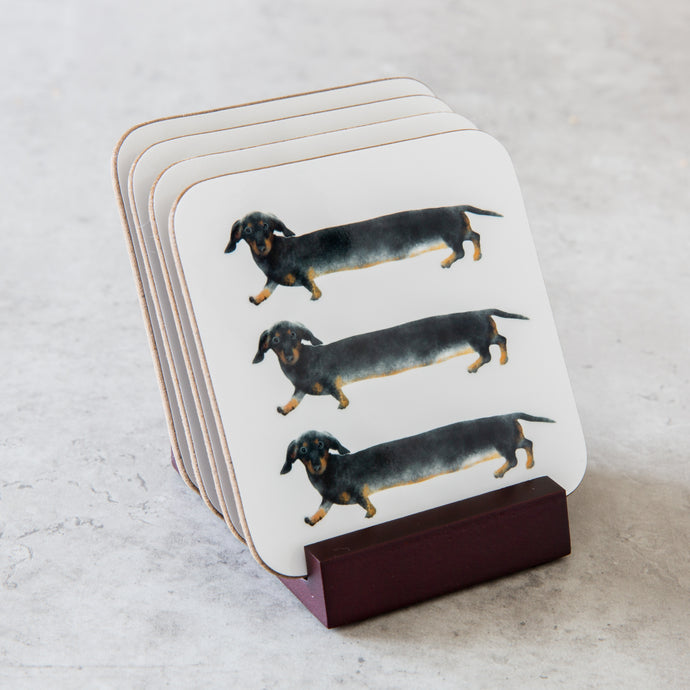 Dachshund Coaster set of 4 with wooden stand