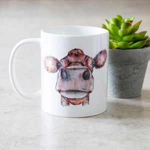 watercolour cow mug