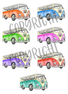 image showing the campervan colour choices, orange, blue, green, pink, purple, red and teal