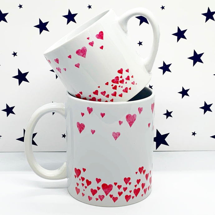Watercolour Hearts Wrap Mug