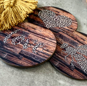 Animal Print Coaster, perfect moving in gift, wood effect coaster