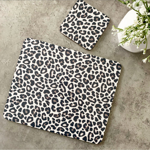 leopard print placemat and coaster