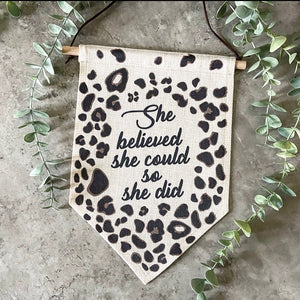 linen banner with leopard print design
