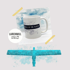black water colour painting of the angel of the north with ink splashes printed wrapped around an 11oz white ceramic mug
