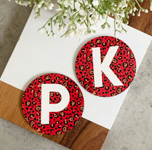 Load image into Gallery viewer, animal print monogram coasters