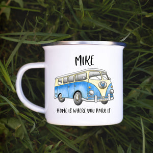 10oz enamel camping mug printed with the watercolour campervan design, name printed above and Home is where you park it is printed underneath