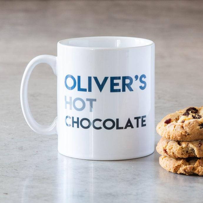 11oz white ceramic hot chocolate mug personalised, ie Oliver's Hot Chocolate.