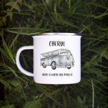 Load image into Gallery viewer, enamel camping mug with silver campervan image on the front, personalised