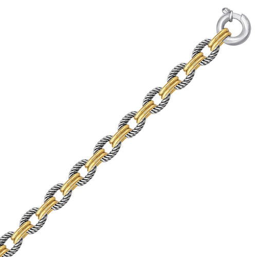18k Yellow Gold and Sterling Silver Dual Polished and Cable Style Chain Bracelet, size 7.5''