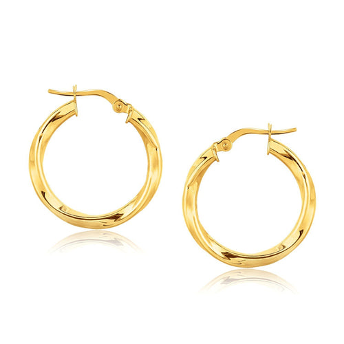 14k Yellow Gold Classic Twist Hoop Earrings (7/8 inch Diameter)