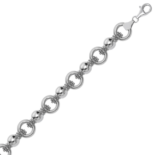Sterling Silver Multi Strand Bead Chain Bracelet with Rings and Rhodium Plating, size 7.5''