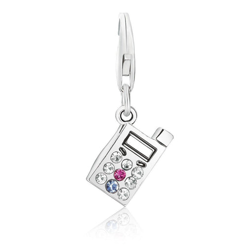 Sterling Silver Cellphone Charm with Crystal Embellishments