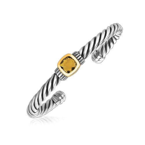 18k Yellow Gold Open Cable Cuff Bangle with a Citrine Embellished Station, size 7.5''