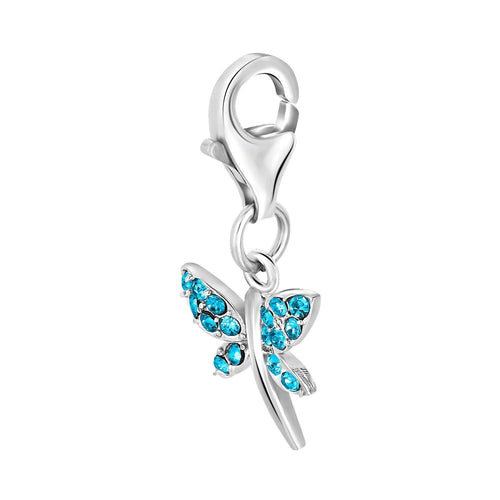 Sterling Silver Dragon Fly Charm with Crystal Accents